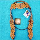 HILASON WESTERN LEATHER HORSE BRIDLE HEADSTALL - LIGHT OIL W/ BLACK INLAY S339