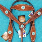 HILASON WESTERN LEATHER HORSE BRIDLE HEADSTALL BREAST COLLAR W/ TURQUOISE CONCHO
