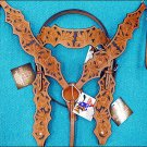 HILASON WESTERN LEATHER HORSE BRIDLE HEADSTALL BREAST COLLAR - LIGHT OIL S339