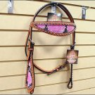 NEW HILASON WESTERN LEATHER HORSE BRIDLE HEADSTALL W/ PINK SNAKE LEATHER INLAY