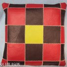 Smooth Leather PatchWork Cushion Pillow Cover PL360