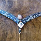 BH359-BC HILASON WESTERN LEATHER HAND PAINTED HORSE TACK BREAST COLLAR - BLACK