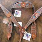 WESTERN HAND PAINT INLAY LEATHER HORSE BRIDLE HEADSTALL BREAST COLLAR SET 370S