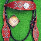 NEW HILASON WESTERN LEATHER HORSE BRIDLE HEADSTALL CHERRY W/ WHEEL CONCHO S459
