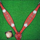 NEW HILASON WESTERN LEATHER HORSE BREAST COLLAR CHERRY W/ BLUE WHEEL CONCHO S459