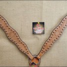 NEW HILASON WESTERN HAND TOOLED LEATHER HORSE BREAST COLLAR LIGHT OIL S377