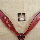 NEW HILASON WESTERN LEATHER HORSE BREAST COLLAR CHERRY W/ RHINESTONES S460