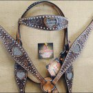 HILASON WESTERN LEATHER HEADSTALL BREAST COLLAR BLING CRYSTAL INLAY DARK BROWN