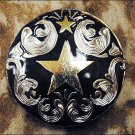 CN099F- 16 TEXAS STAR BLACK CONCHO SADDLE HEADSTALL TACK BLING COWGIRL