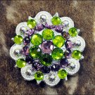 CN050GPF- 8 GREEN PURPLE CRYSTALS BERRY CONCHO BLING RHINESTONE HEADSTALL TACK