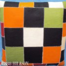 Smooth Leather PatchWork Cushion Pillow Cover PL450