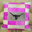 PL159F- HILASON COWHIDE LEATHER HAIR-ON PATCHWORK CUSHION PILLOW COVER