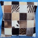 F-PL375 Cowhide Leather Hair-On PatchWork Cushion Pillow Cover