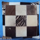 F-PL369 Cowhide Leather Hair-On PatchWork Cushion Pillow Cover
