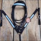 PA420F- WESTERN TACK NYLON HEADSTALL BREAST COLLAR SET W/ BLUE FAUX LEATHER TRIM