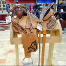 "HILASON WESTERN LEATHER BARREL RACING TRAIL SADDLE 15"", 16"" BRIDLE BREAST COLLAR"