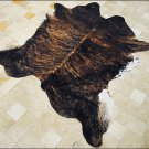 F-HS730 HILASON MEDIUM EXOTIC BRAZILIAN HAIR-ON LEATHER COWHIDE THROW RUG CARPET