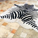 F-HS755 HILASON ZEBRA STENCIL PURE BRAZILIAN HAIR ON FULL COWHIDE LEATHER RUG