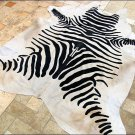 F-HS756 HILASON ZEBRA STENCIL PURE BRAZILIAN HAIR ON FULL COWHIDE LEATHER RUG