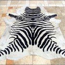 F-HS757 HILASON ZEBRA STENCIL PURE BRAZILIAN HAIR ON FULL COWHIDE LEATHER RUG