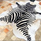 F-HS762 HILASON ZEBRA STENCIL PURE BRAZILIAN HAIR ON FULL COWHIDE LEATHER RUG