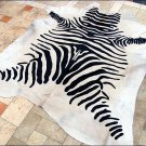 F-HS763 HILASON ZEBRA STENCIL PURE BRAZILIAN HAIR ON FULL COWHIDE LEATHER RUG