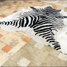 F-HS768 HILASON ZEBRA STENCIL PURE BRAZILIAN HAIR ON FULL COWHIDE LEATHER RUG