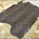 F-HS773 HILASON LEOPARD STENCIL PURE BRAZILIAN HAIR ON FULL COWHIDE LEATHER RUG