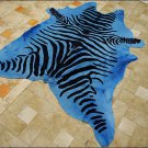 F-HS774 HILASON ZEBRA STENCIL PURE BRAZILIAN HAIR ON FULL COWHIDE LEATHER RUG