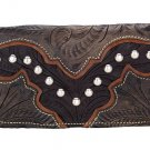 AMERICAN WEST LEATHER RODEO LADIES THREE FOLD WALLET Hand Carved & Silver Studs