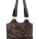 AMERICAN WEST LEATHER RODEO WOMEN'S FASHION TOTE SHOPPER HAND CARVED BAG