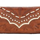AMERICAN WEST LEATHER RODEO WOMEN'S TRI-FOLD WALLET HAND CARVED W/ SILVER STUDDE