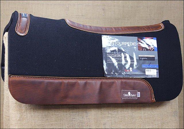 30 x 30 inch CLASSIC EQUINE CONTOURPEDIC WESTERN HORSE SADDLE PAD BLACK