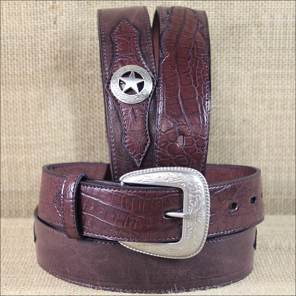 "42 X 1 1/2"" 3D DARK BROWN MEN'S WESTERN FASHION LEATHER BELT W/ STAR CONCHO"