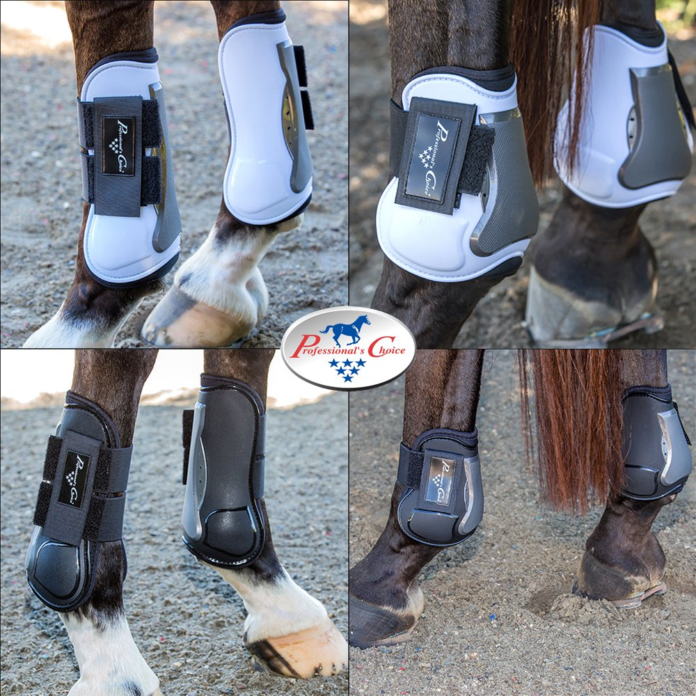 PROFESSIONAL CHOICE PRO PERFORMANCE SHOW JUMP BOOTS FRONT REAR HORSE BLACK WHITE