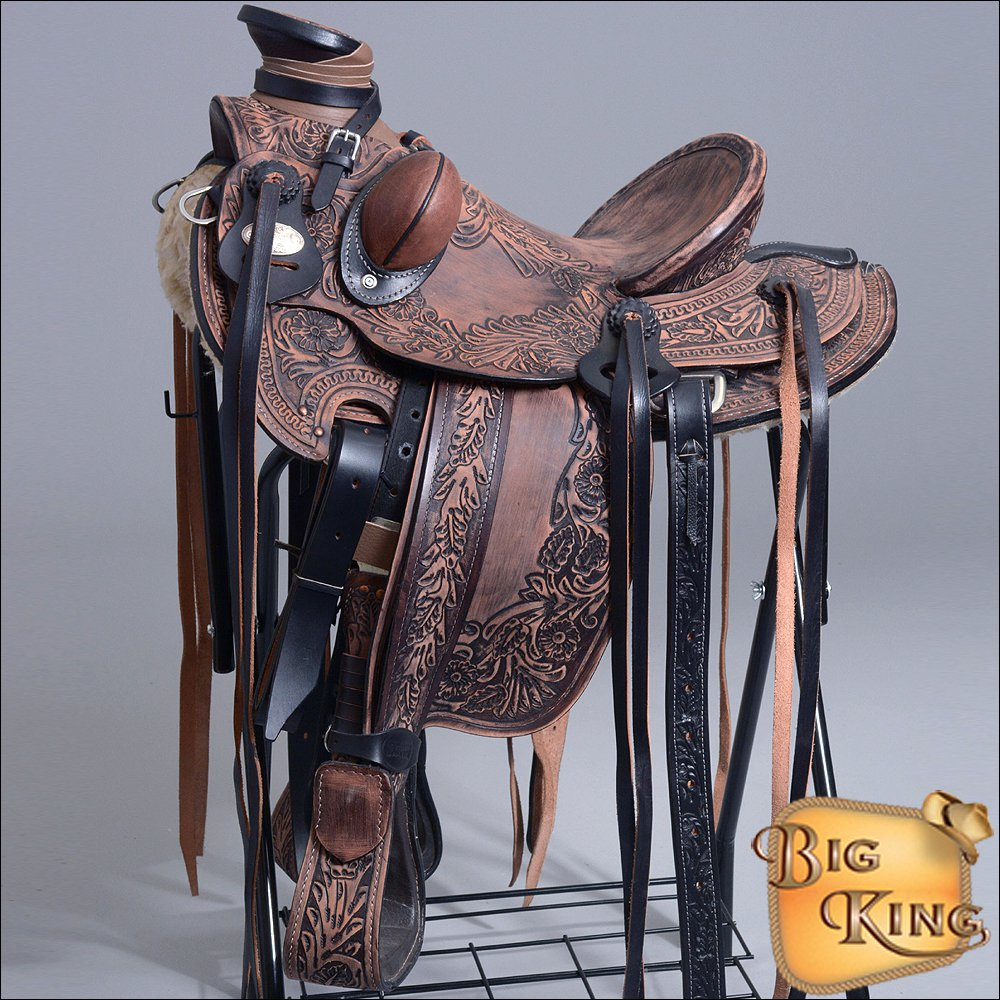 WD700-F HILASON BIG KING SERIES WESTERN WADE RANCH ROPING COWBOY TRAIL SADDLE 15