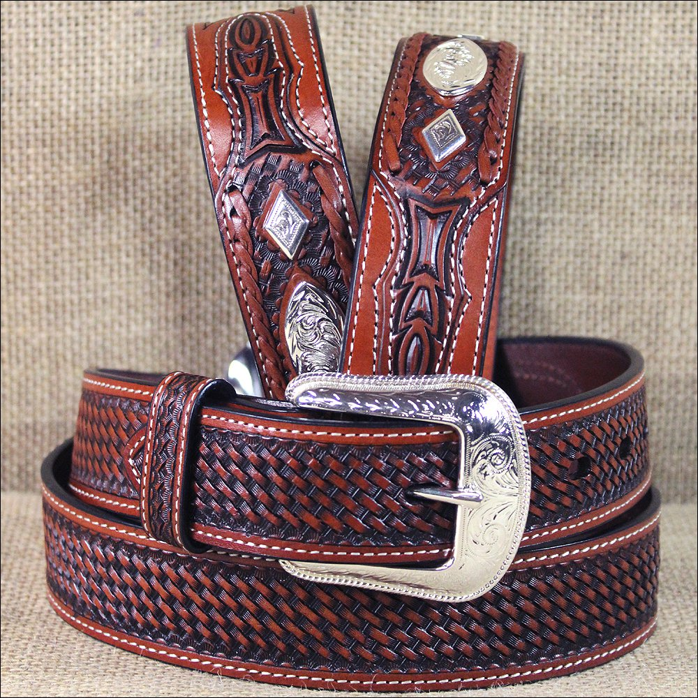 "32 X 1 1/2"" 3D TAN MEN'S WESTERN FASHION LEATHER BELT W/ SILVER CONCHO BUCKLE"
