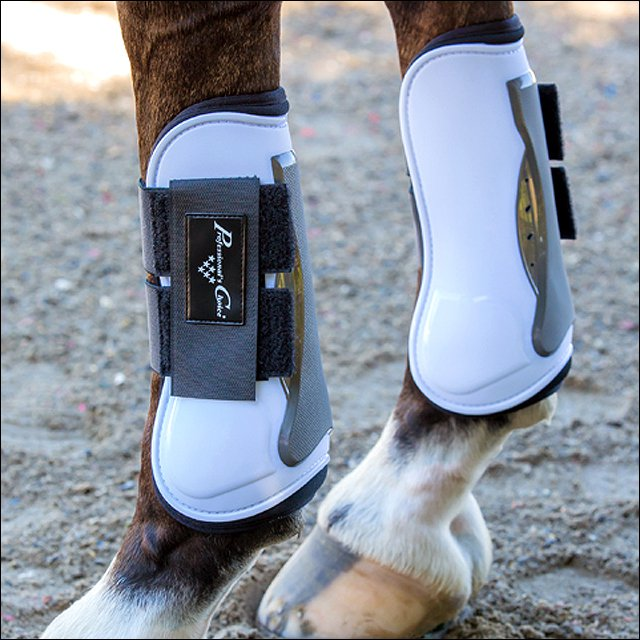 PROFESSIONAL CHOICE PRO MEMORY FOAM OPEN FRONT SHOW HORSE TENDON JUMP BOOT WHITE