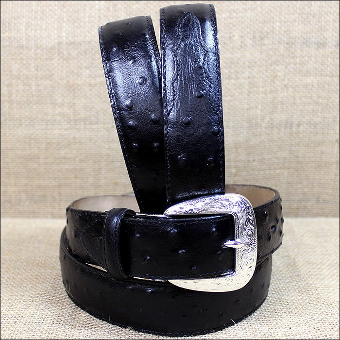 32 inch TONY LAMA MEN'S BLACK OSTRICH PRINT LEATHER DRESS BELT