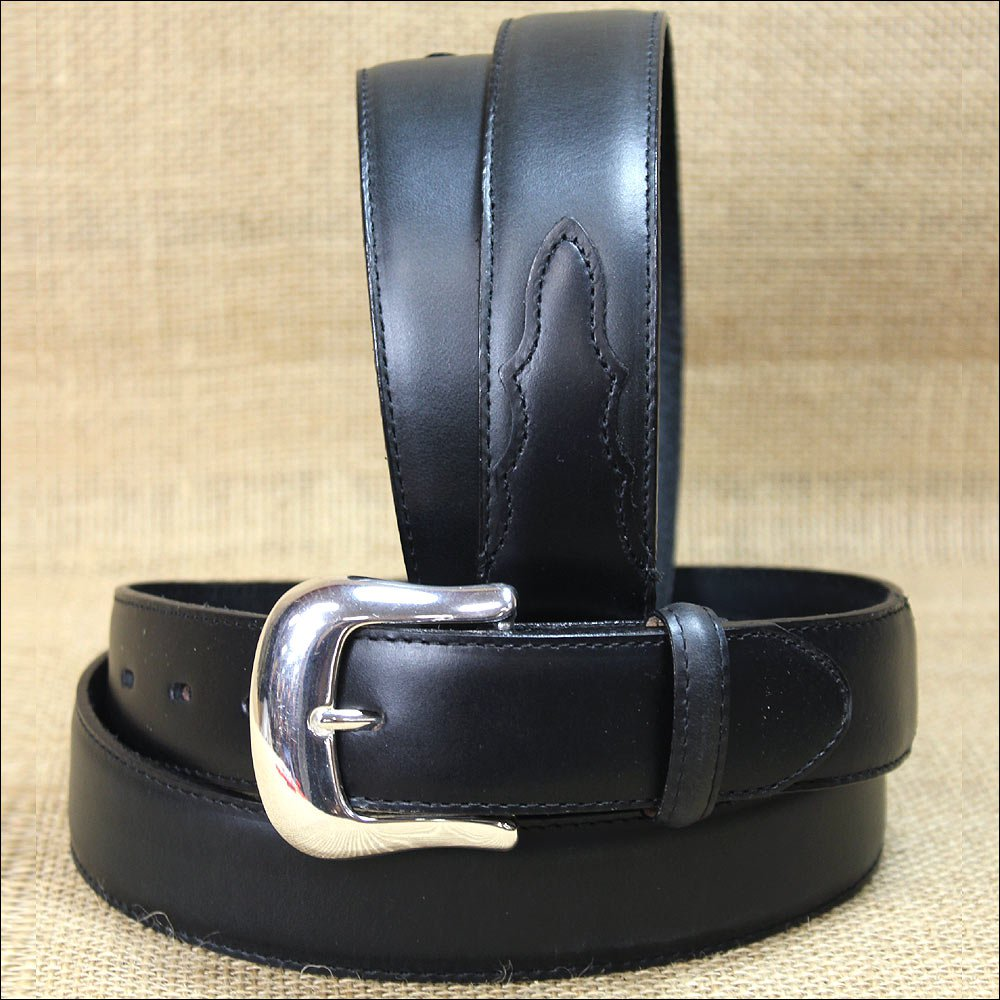 "34"" TONY LAMA BLACK SMOOTH LEATHER LONGHORN DRESS MEN BELT 1-3/8"" Wide"
