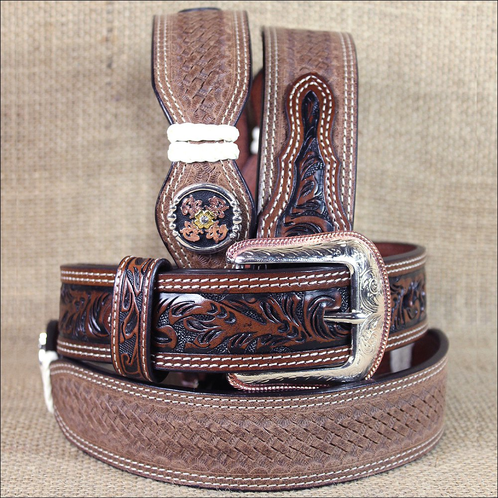 "34x1 1/2"" 3D BROWN MENS WESTERN FASHION FLORAL LEATHER BELT REMOVABLE BUCKLE"
