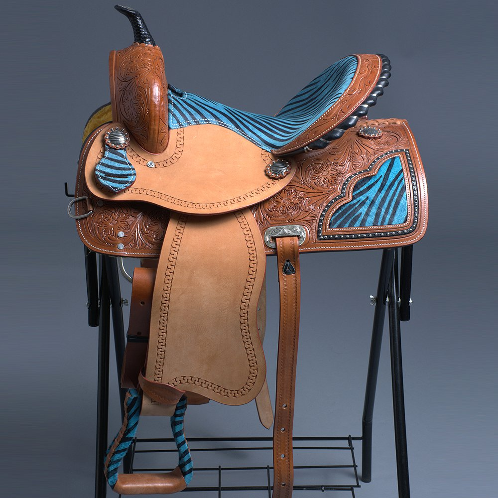 OS102NS-F WESTERN LEATHER BARREL RACING TRAIL PLEASURE SADDLE TURQUOISE ZEBRA 15