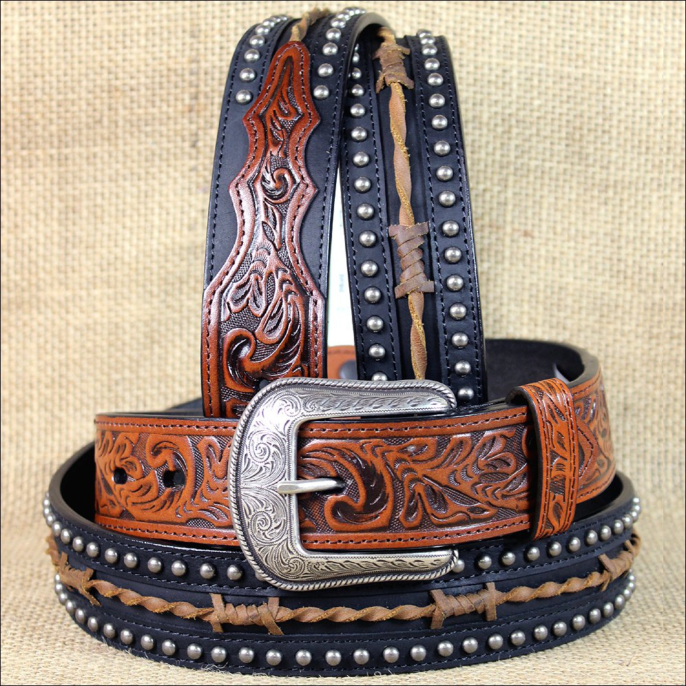 "44 X 1 1/2"" 3D BROWN BLACK MENS WESTERN FASHION LEATHER BELT REMOVABLE BUCKLE"