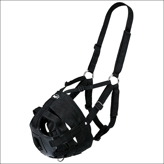 HORSE SIZE TOUGH 1 EASY BREATHE POLY NYLON HORSE V GRAZING MUZZLE BLACK