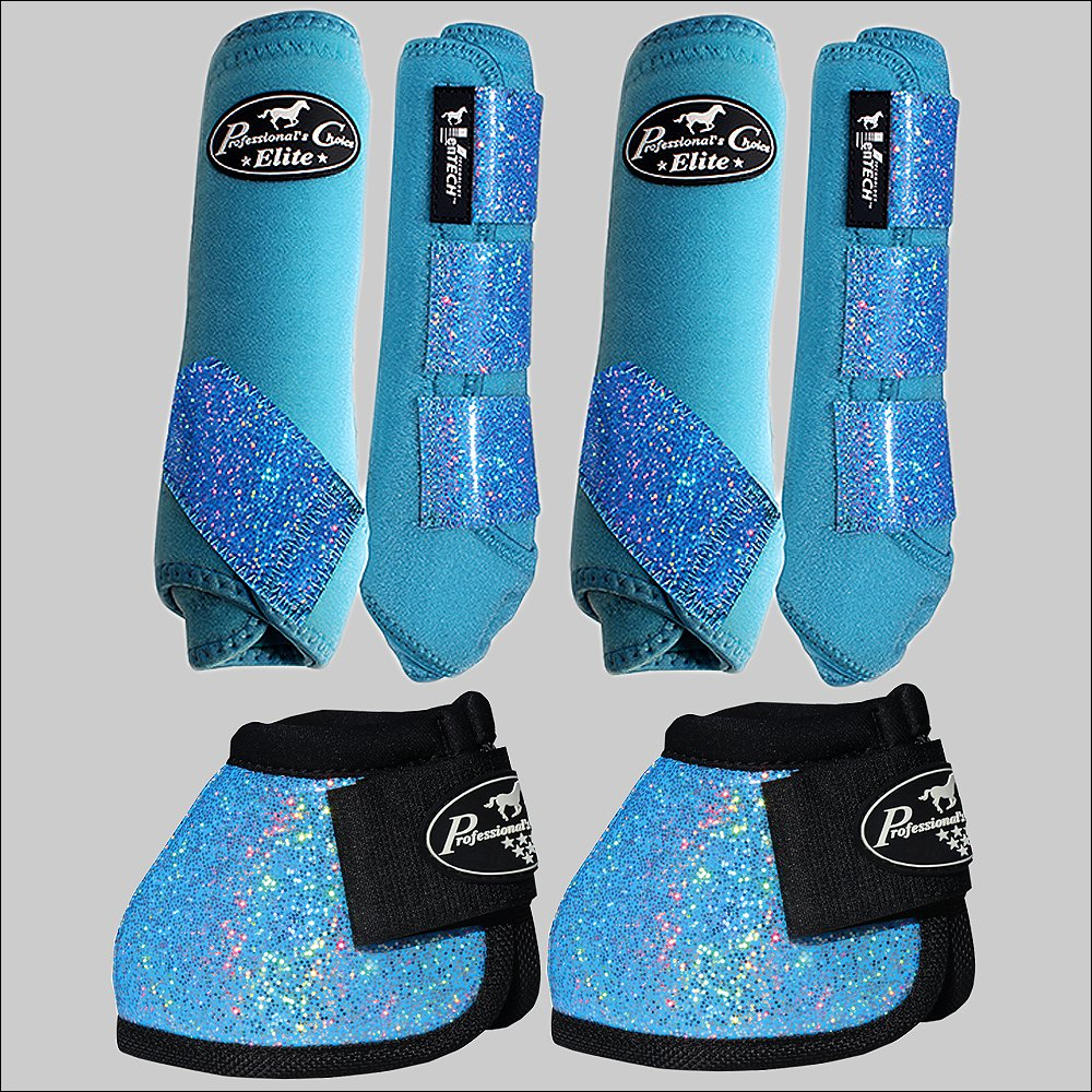 MED PROFESSIONAL CHOICE SPORTS HORSE BOOTS BELL VENTECH ELITE GLITTER TURQUOISE