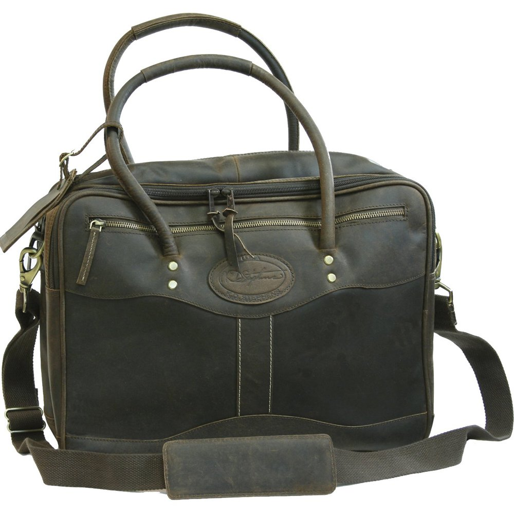 KD STEPHENS LEATHER OVERNIGHTER BRIEFCASE LAPTOP TRAVEL LUGGAGE BAG COFFEE BROWN