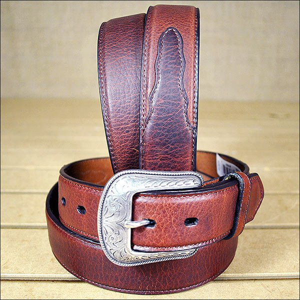 3D 38 x 1 1/2 INCH DARK BROWN MEN'S WESTERN BASIC LEATHER BELT REMOVABLE BUCKLE