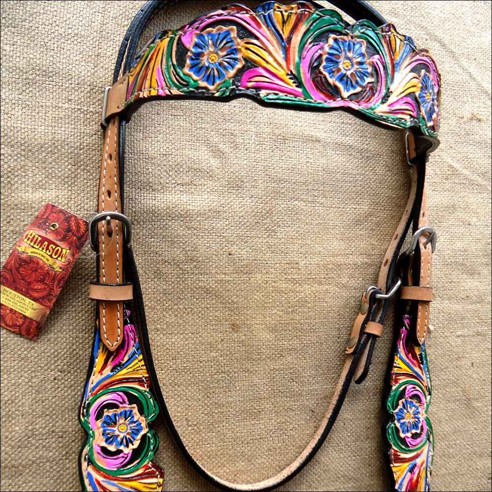 HILASON WESTERN LEATHER HORSE BRIDLE HEADSTALL HAND PAINT FRINGES