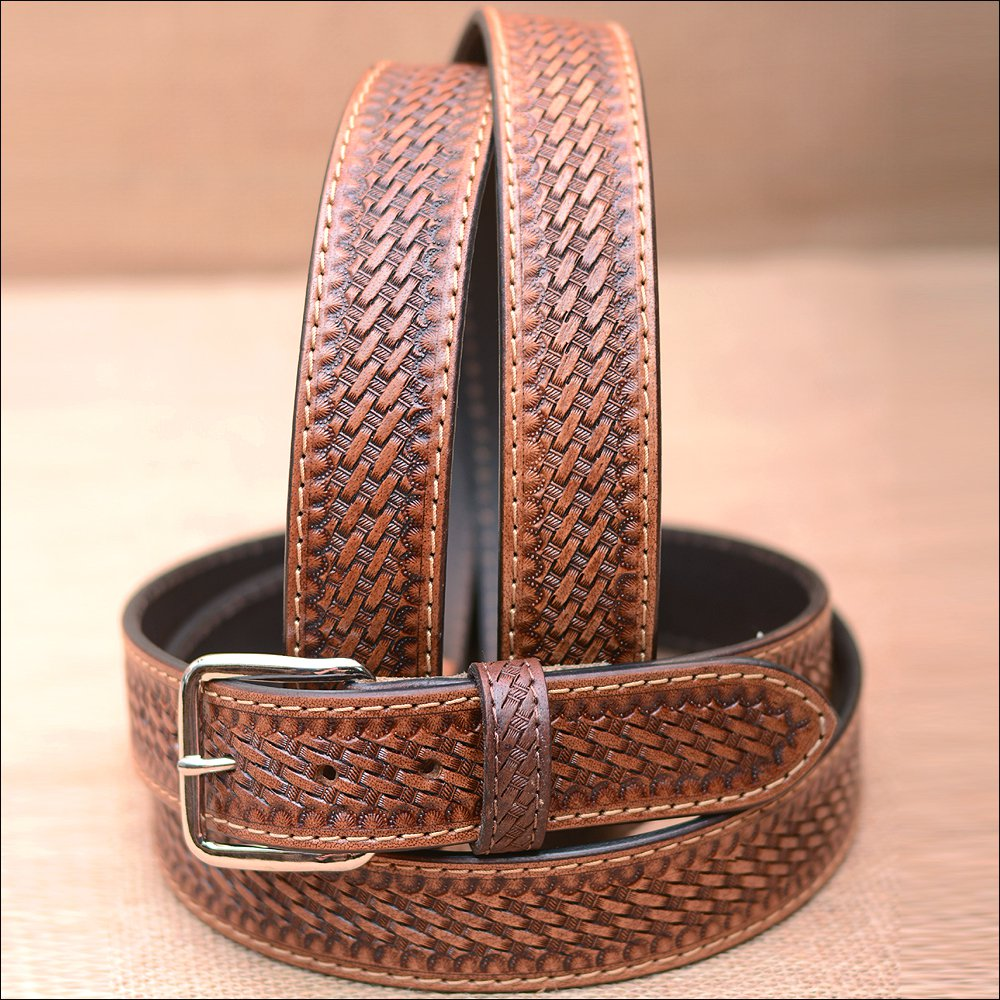 "44"" HILASON HAND MADE HEAVY DUTY BUFFALO HIDE LEATHER STICHED BELT"