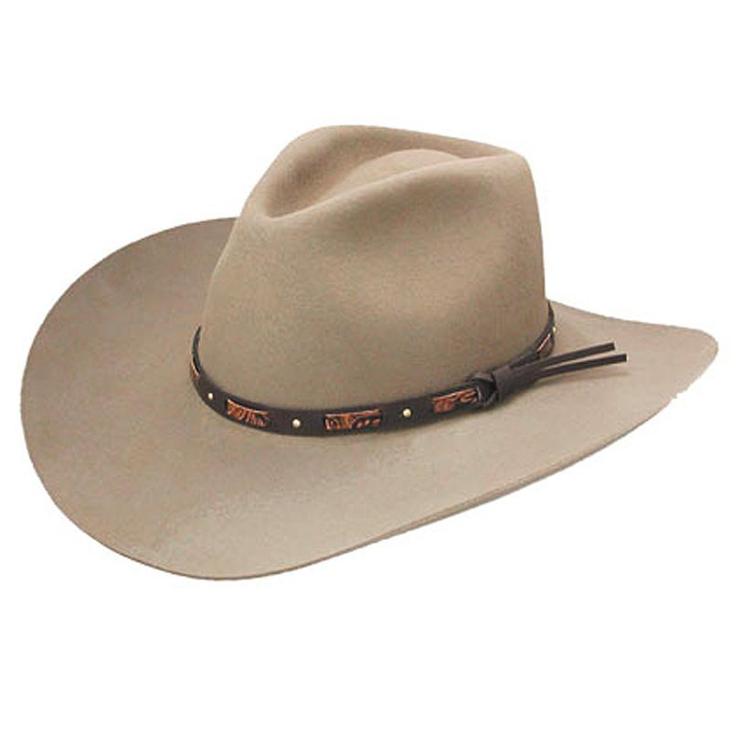 7 1/4 STETSON HUTCHINS STONE 3X WESTERN COWBOYS WOOL HATS LEATHER BAND